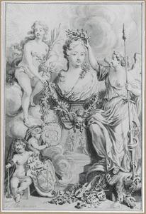 Kroning van borstbeeld van een overleden dame, omringd door allegorische figuren