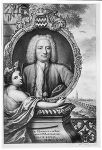 Portret van Hendrik van Slingelandt (1702-1759), schepen en burgemeester van Den Haag; in de achtergrond: Den Haag