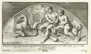 Faun die denkt met Omphale te gaan treft Hercules die hem ruw tegen de grond werkt (pl. XXVIII)