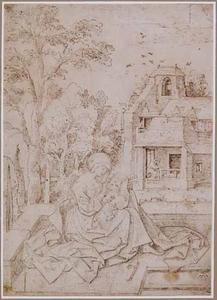 Maria met kind zittend in een landschap