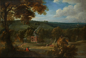 Heuvelachtig landschap met gezicht op een dorp tussen de bomen