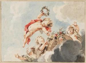 Wolkenlucht met vier vliegende putti met een bloemenmand
