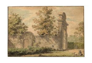 Parklandschap met tuinmuur en poort, mogelijk bij Bologna