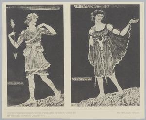 Twee kostuumontwerpen voor de mythische comedie 'Marsyas': 'Arethusa' en 'Boschnijmph'