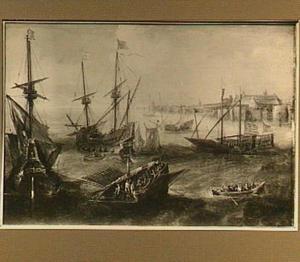 Driemasters en galeiën voor de kust