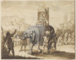 Intocht van een hoogwaardigheidsbekleder op een olifant, met exotische figuren