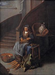 Een oude vrouw maakt wortelen schoon in een interieur
