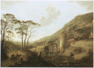 Berglandschap met versterkte toren bij een brug