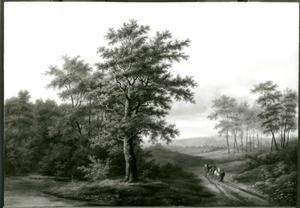 Heuvellandschap met man en paard en wagen op een landweg