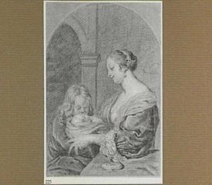 Moeder met kinderen in een interieur