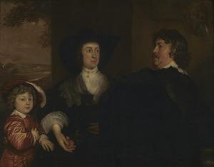 Familieportret van Cornelis Janson van Ceulen (1593-1661), Elisabeth Beck (....-1670) en hun kind Cornelis Janson van Ceulen (1634-1715)
