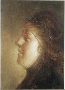 Kop van een vrouw en profil