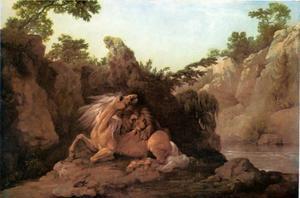 Paard door een leeuw verscheurd