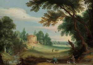 Bebost  landschap met jagers en een tempel