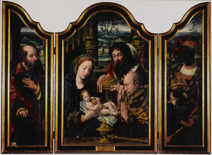 De H. Jozef (links), twee koningen in aanbidding voor het Christuskind (midden), Balthasar (rechts)