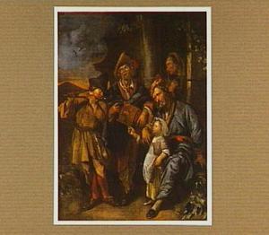 Een liereman en een fluitist, spelend voor een (groot)ouderpaar met kind