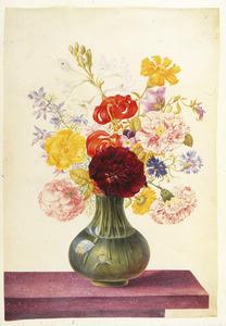 Laste voorjaarsbloemen in glazen vaas met zelfportret