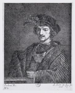 Jonge man met baret met pluim ten halven lijve