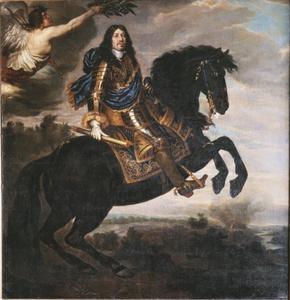 Portret van koning Karel X Gustaaf van Zweden (1622-1660) op een paard