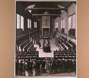 De vergadering van de Nationale Synode in de Sebastiaansdoelen in Dordrecht, 1618-1619
