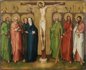 Christus aan het kruis, Maria en de apostelen Jacobus, Petrus, Johannes, Andreas, Thomas en Bartholomeus