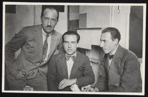 Piet Mondriaan, Enrico Prampolini en Michel Seuphor in het atelier van Mondriaan