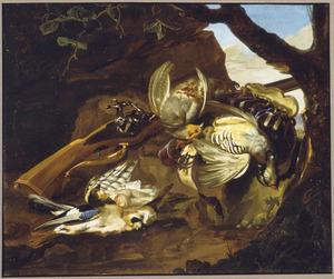 Dood gevogelte en jachtgerei onder een boom