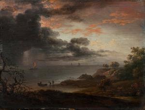 Zware regenbui boven zee