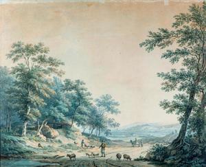 Een herder met zijn kudde op een landweg in een bos