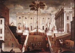 De boom op het Piazza del Campidoglio ter gelegenheid van de meiboomviering