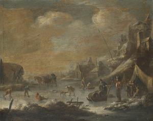 Winterlandschap met figuren op een bevroren rivier