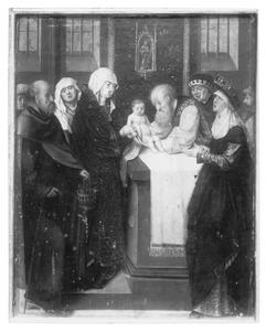 Altaarstuk met de Zeven Smarten van Maria: presentatie in de tempel (links, onderaan)