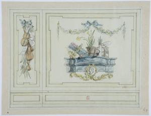 Wand met een allegorie van de lente en muziekinstrumenten