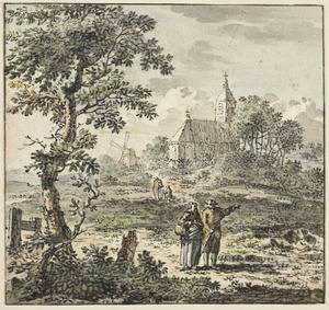 Landschap met figuren en een kerk