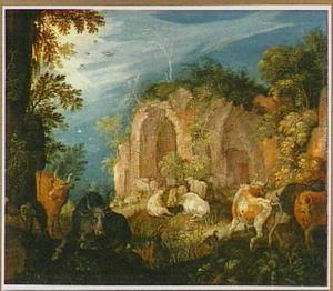 Landschap met vee bij een ruïne