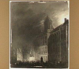 Feest op de Dam, te Amsterdam, bij avond ter gelegenheid van de terugkeer van de schutterij uit Brabant op 5 september 1834