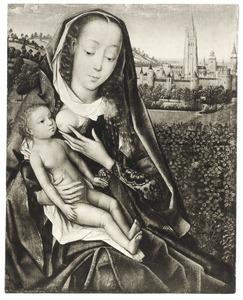 Maria met kind aan de borst in een heuvellandschap met in de achtergrond Brugge en de Onze-Lieve-Vrouwekerk