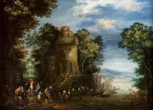 Landschap met mensen voor een toren in de buurt van een rivier