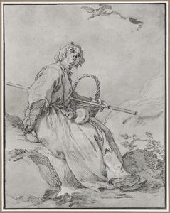 Zittende man met mand en herdersstaf