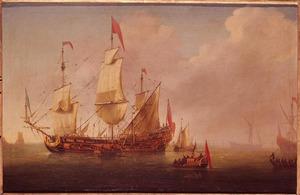 Marine met oorlogsschip