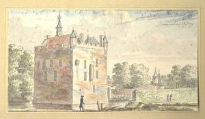 Gezicht op de achterzijde van kasteel Doornenburg in Bemmel