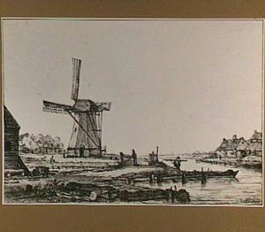 Molen en boerderijen aan een kanaal