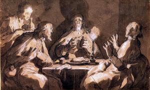 Christus breekt het brood in het huis van de discipelen in Emmaus