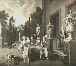Galant gezelschap aan een tafel in de tuin van een buitenhuis