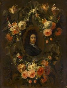 Bloemguirlande rond een mansportret