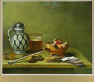 Stilleven met kan, bierglas, schaal van aardewerk, pijp