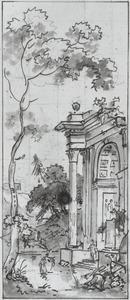 Behangselvlak met een klassieke ruïne