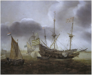 Zeegezicht met een met een zeilschip dat een saluutschot lost