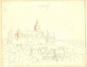 Nijmegen, De Valkhofburcht en de huizen aan de voet van de Belvedère