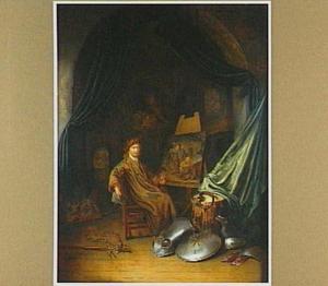 Zelfportret van de schilder in zijn atelier